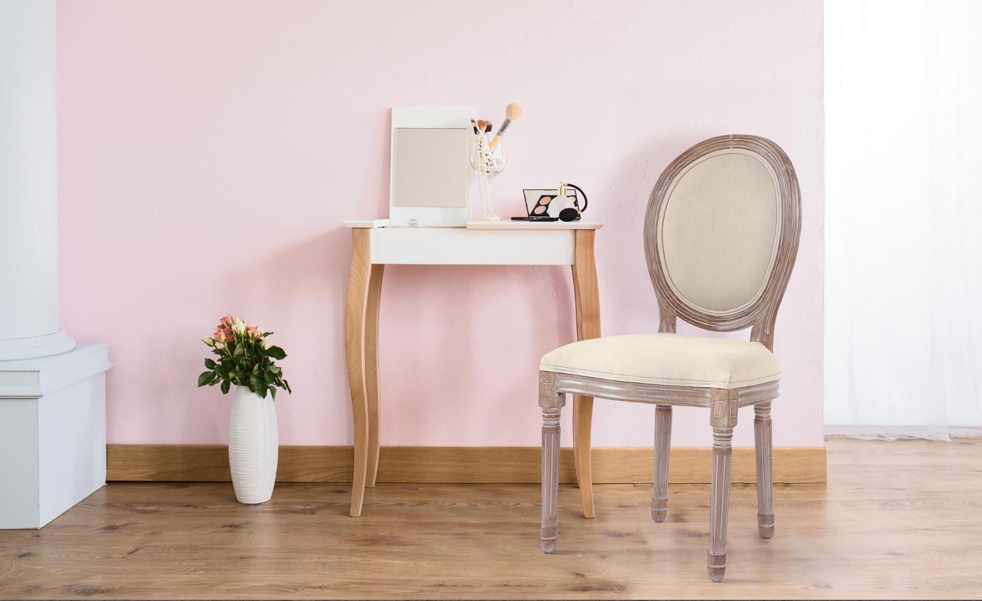 Set van 2 stoelen in Louis XVI-stijl in beige stof
