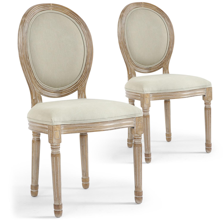 Lot de 2 chaises de style, chaises Louis XVI tissu beige