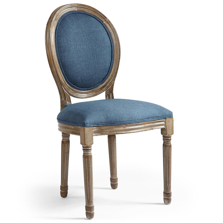 Lot van 2 Louis XVI-stoelen in medaillonstijl Blauwe stof