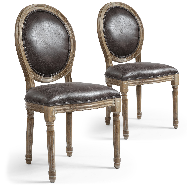 Lot de 2 chaises de style, chaises Louis XVI tissu effet peau animale