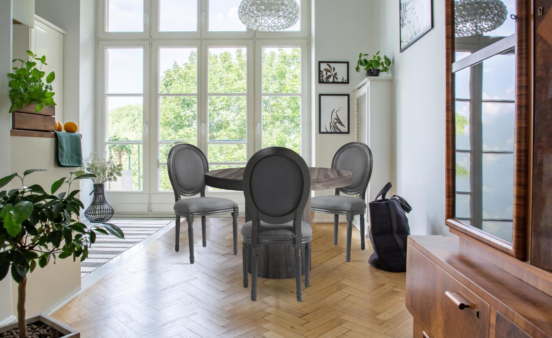 Lot van 2 stoelen in medaillon grijze stof in Louis XVI-stijl