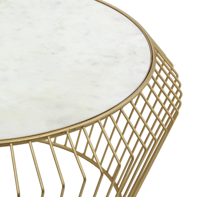Salini salontafel in wit marmer en gouden poten