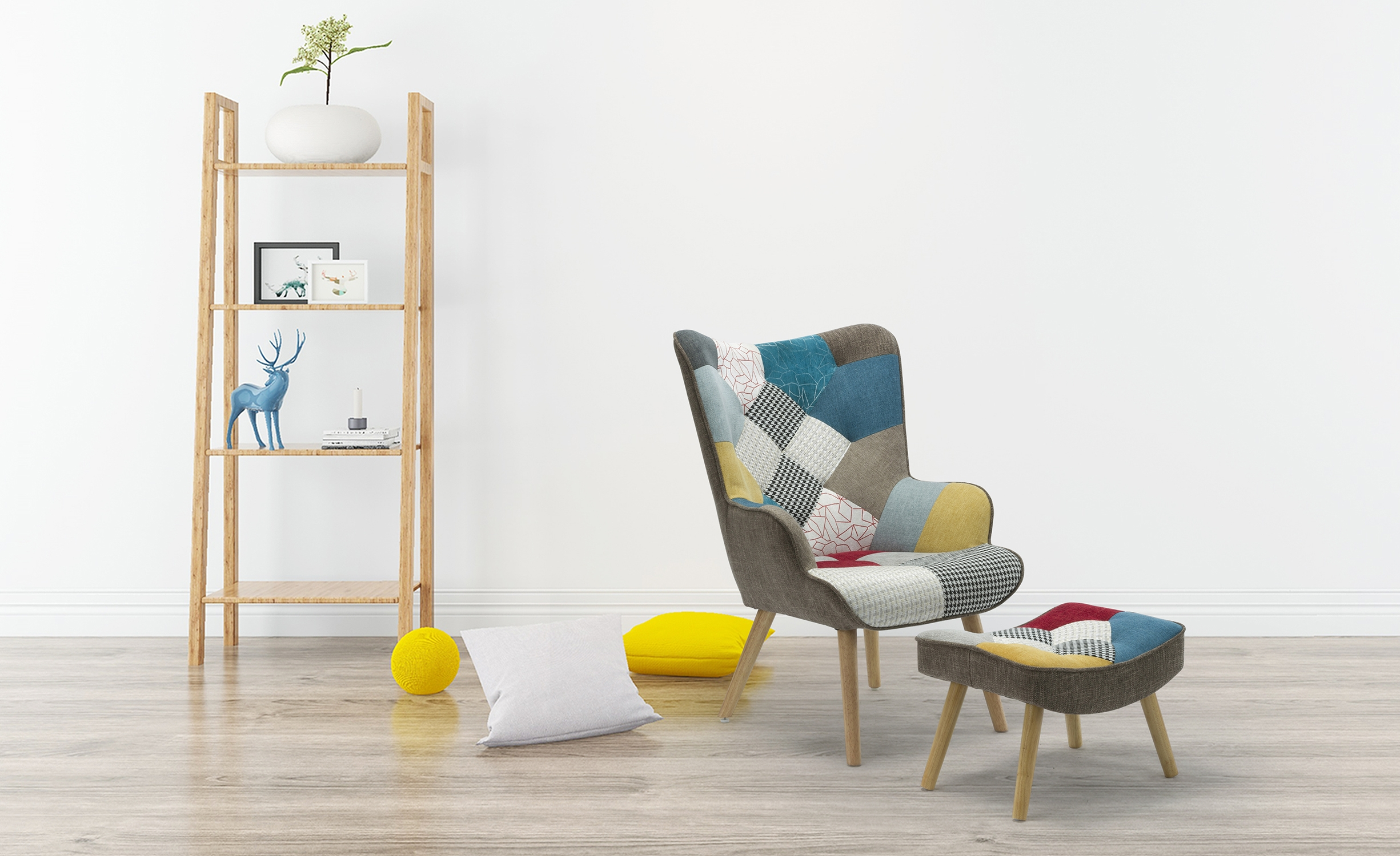 Scandinavische fauteuil + poef Lylou stof Patchwork