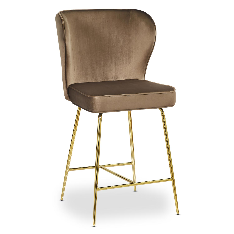 Chaise de bar Elsa Gold Velours Camel