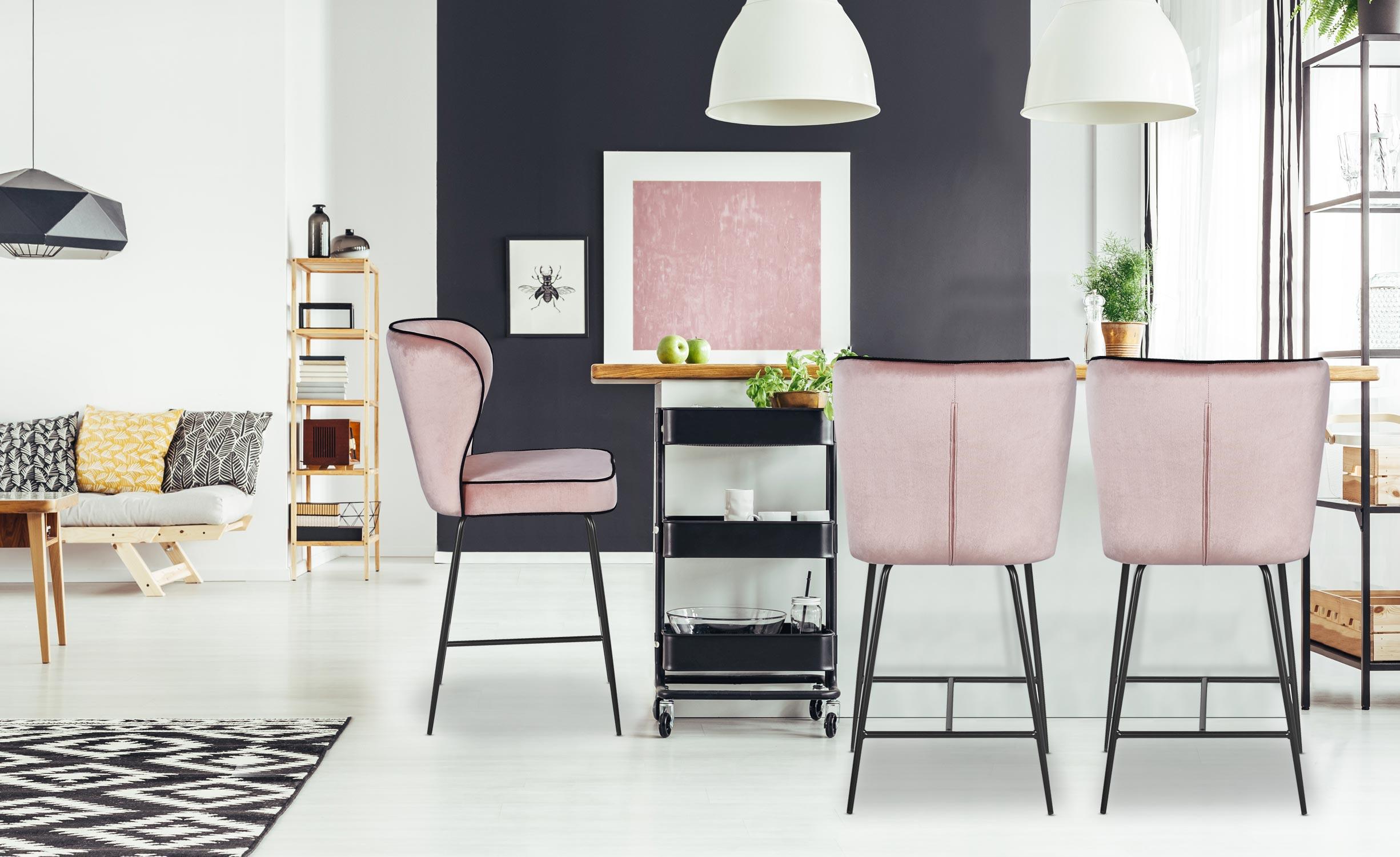 Barstoel Elsa Velvet Pink