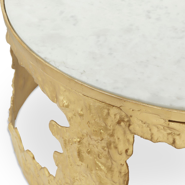 Set van 2 Melton salontafels van marmer en goudkleurig metaal