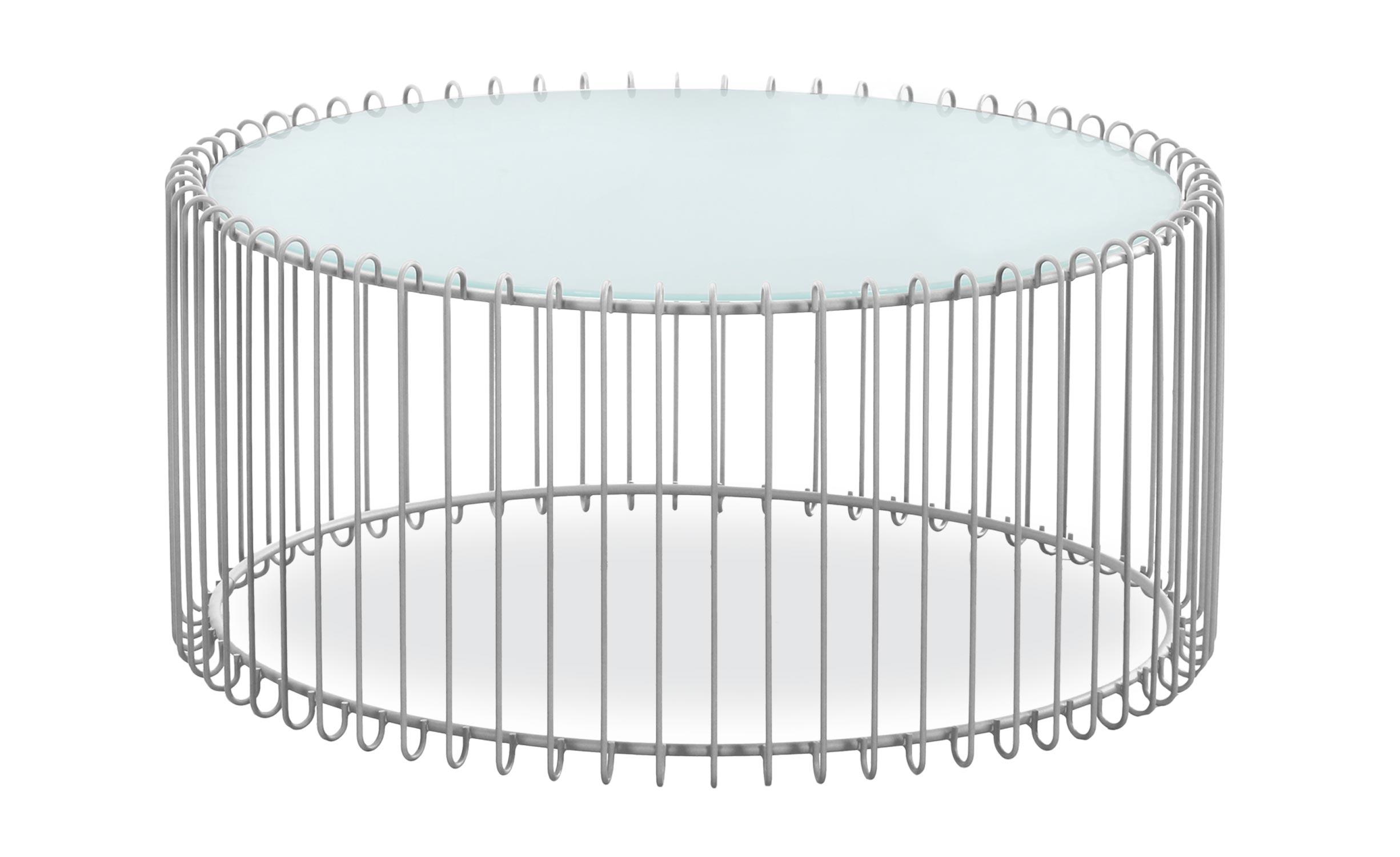 Set van 2 salontafels Universum wit glas en grijs metaal