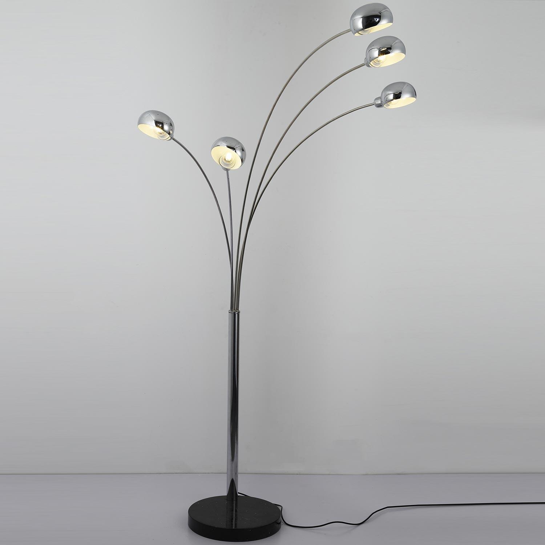 Zilverkleurige metalen vloerlamp Adola