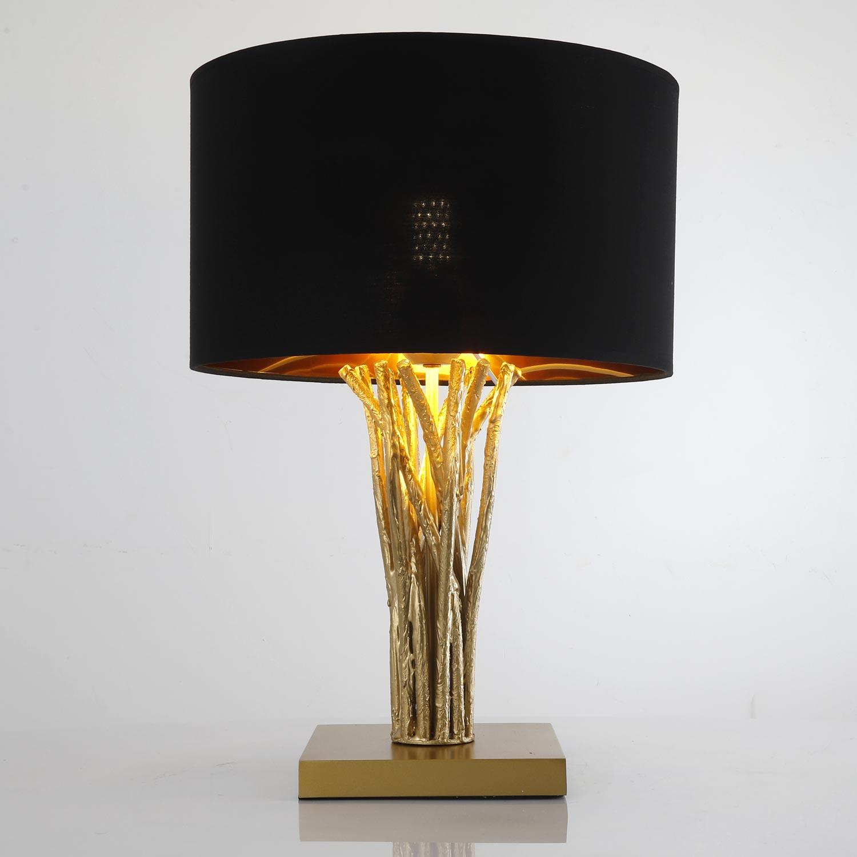 Tafellamp Naturane zwart en goud metaal