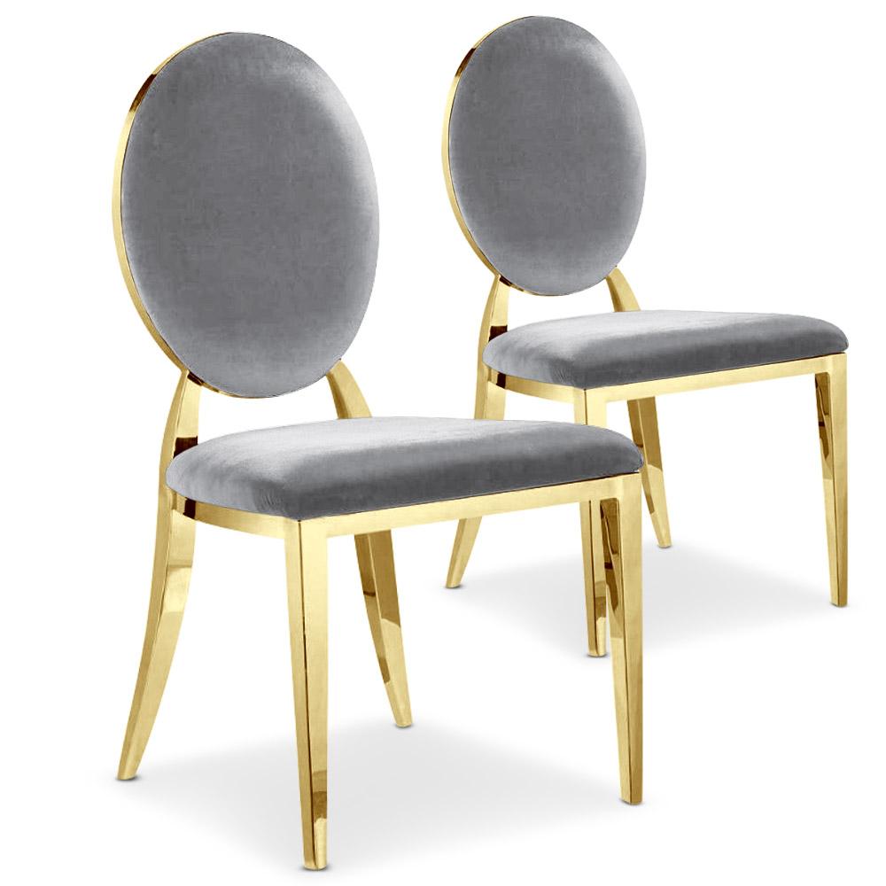 Lot de 2 chaises médaillon Sofia Velours Argent Pieds Or