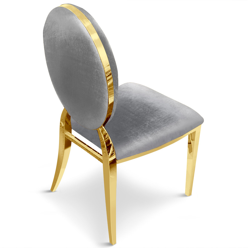 Lot van 2 stoelen medaillon Sofia Velvet Silver Gold Feet