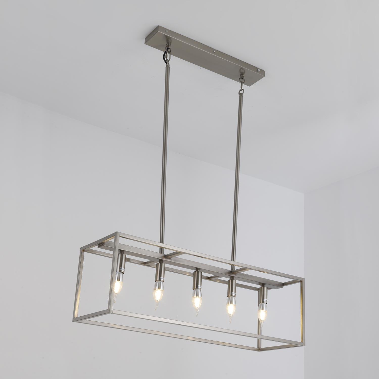 Hanglamp Boxo Geborsteld metaal Zilver