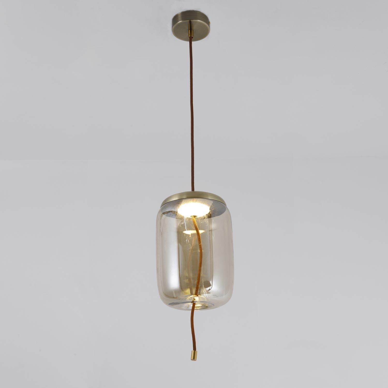 Odalys LED hanglamp gerookt transparant glas