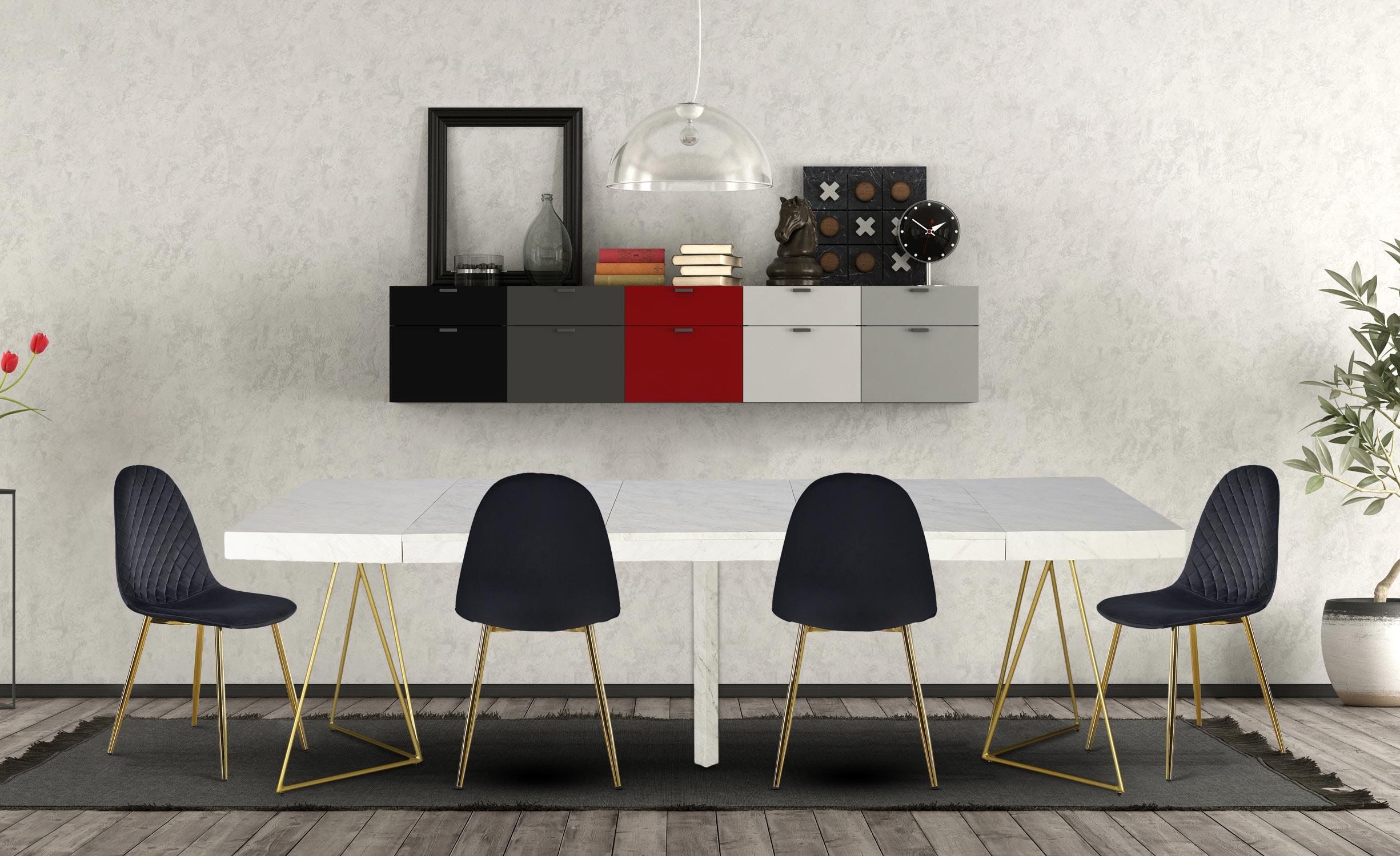 Neila uitschuifbare tafel met marmereffect