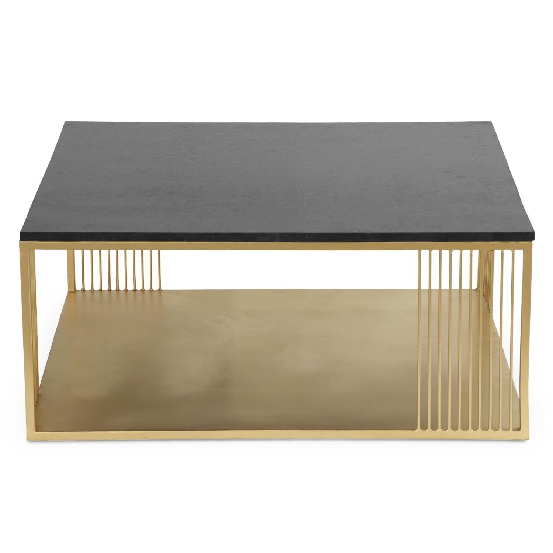 Vierkante salontafel van zwart marmer en goudkleurig metaal