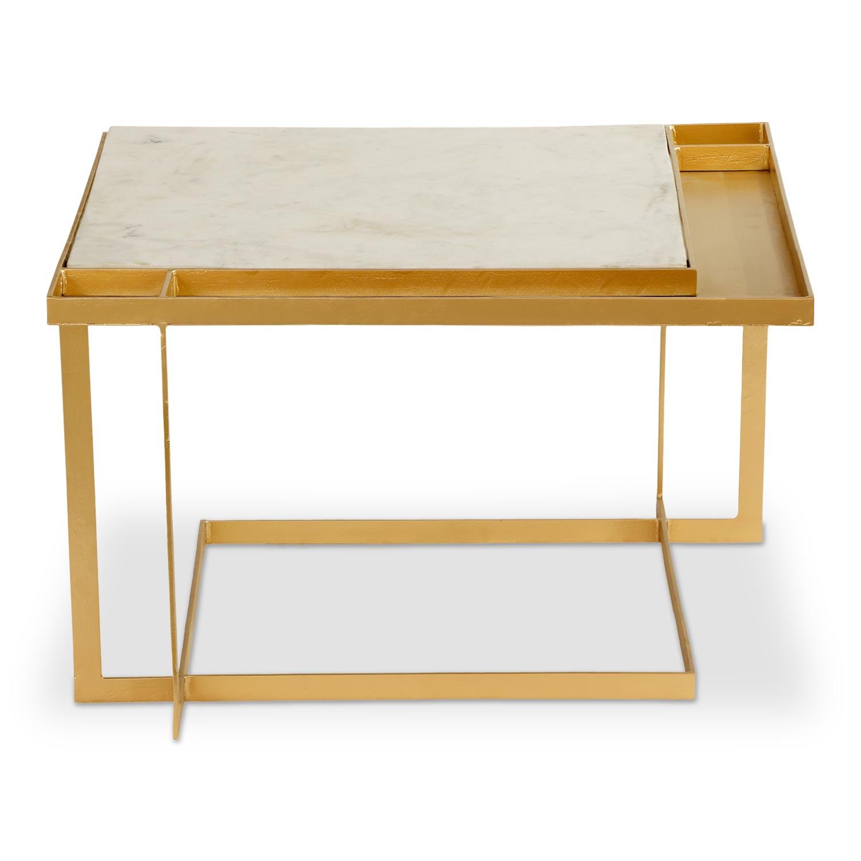 Vierkante salontafel Tocade Marmer en Goud Metaal