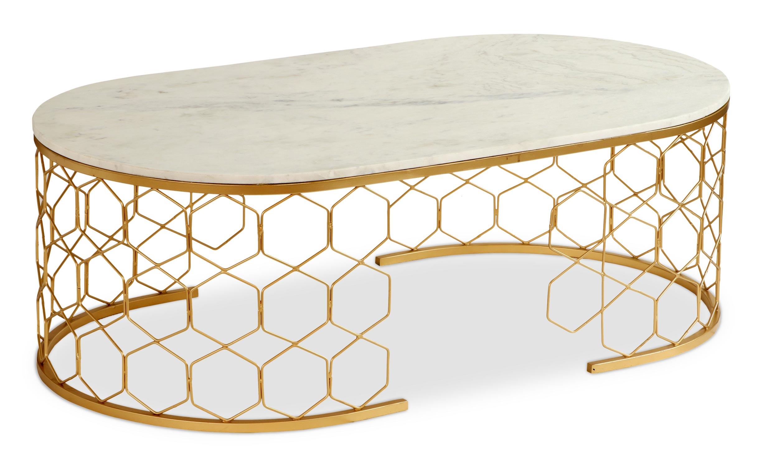 Table basse design Mayano Marbre et Métal Or