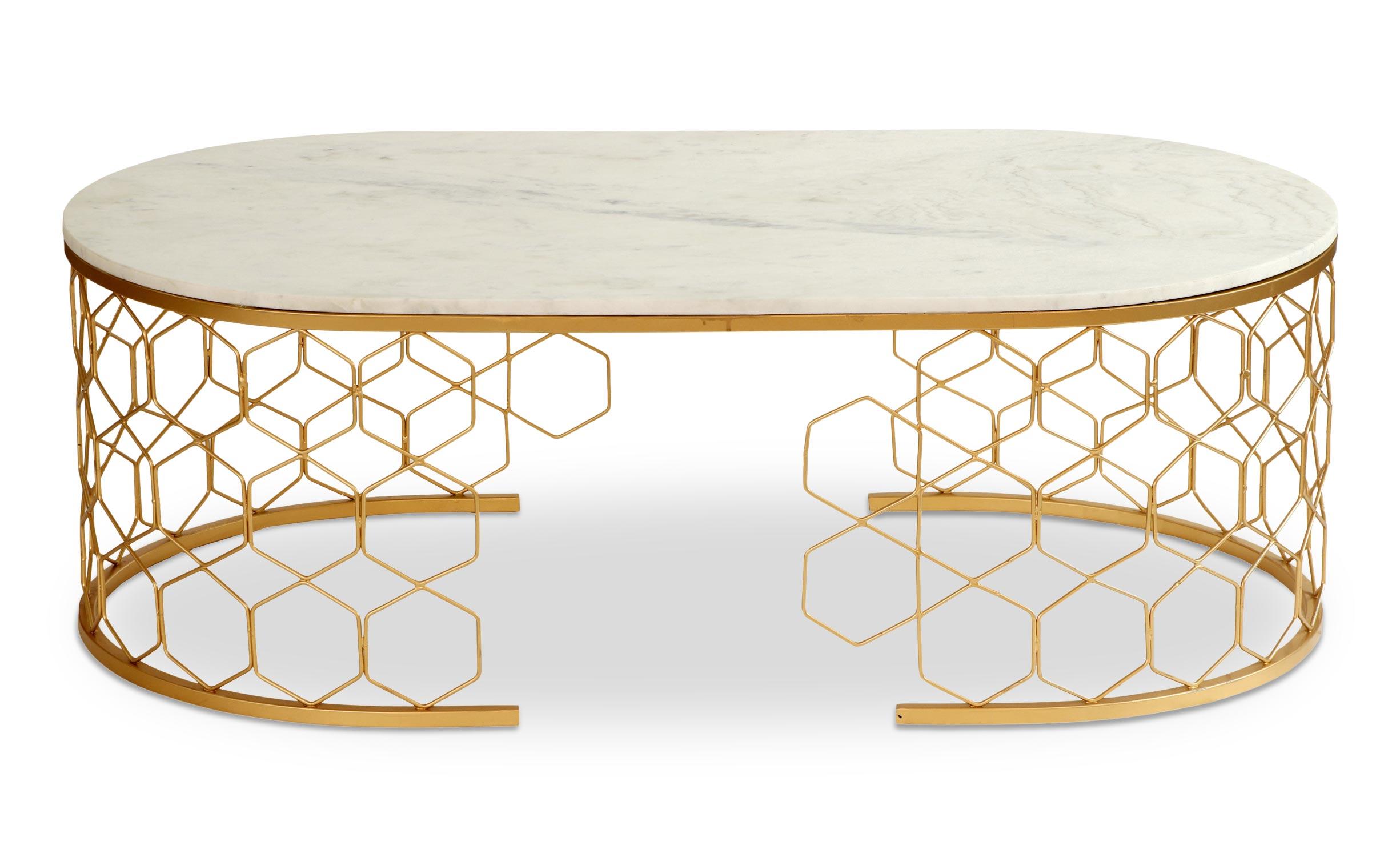 Mayano design salontafel van marmer en goudkleurig metaal