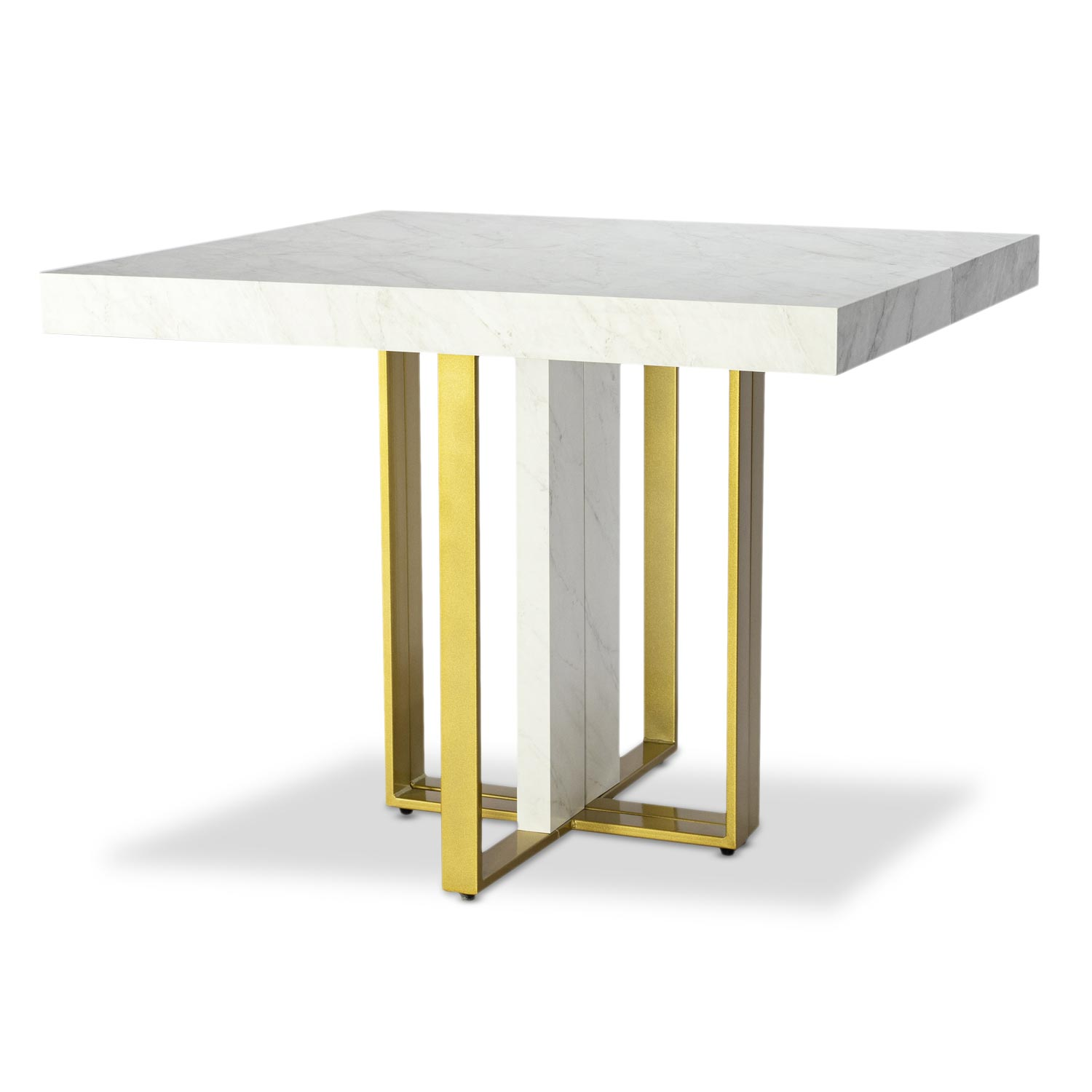 Table extensible Teresa Gold Effet marbre pieds Or