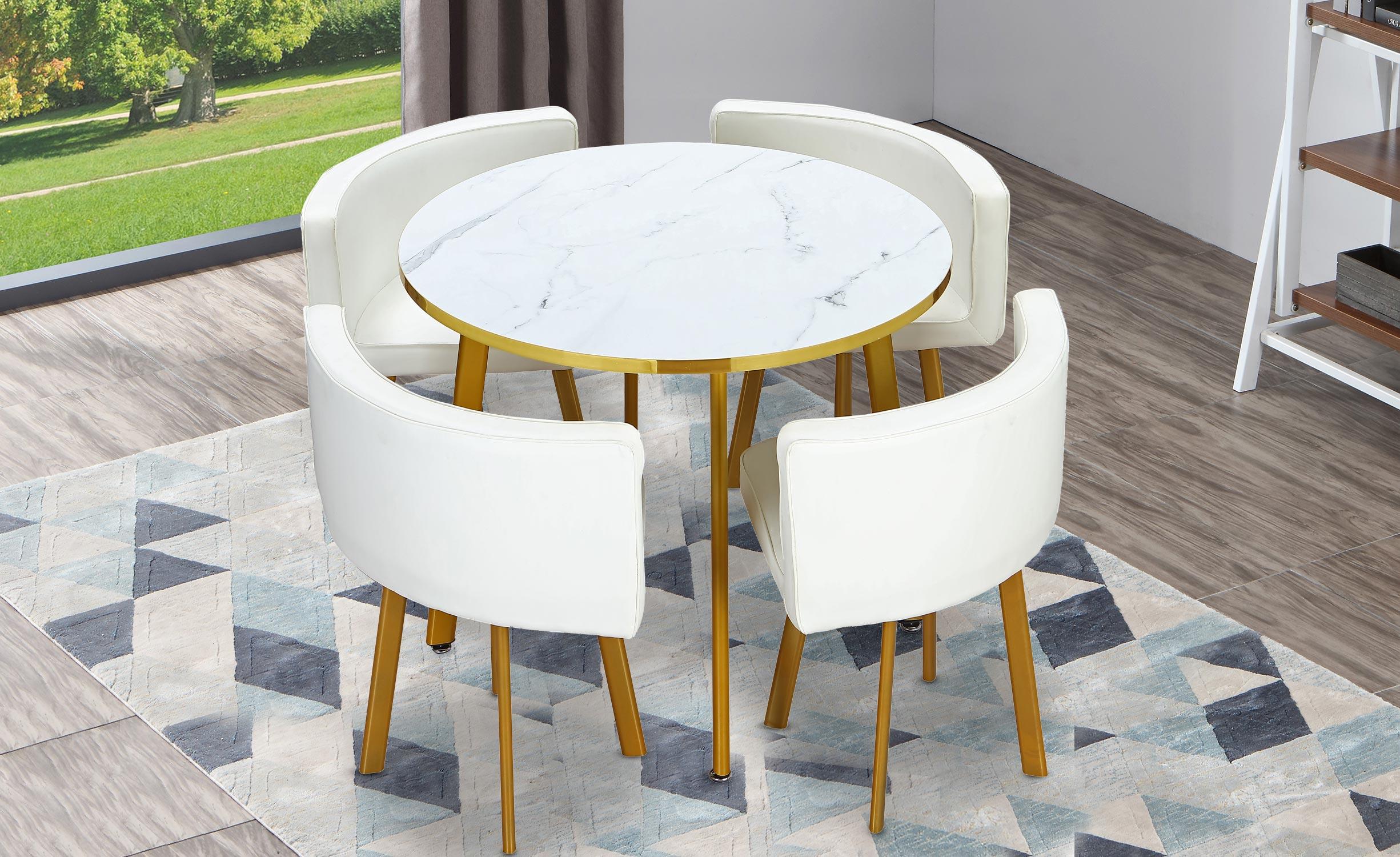 Riga ronde tafel en stoelen met marmereffect en goud