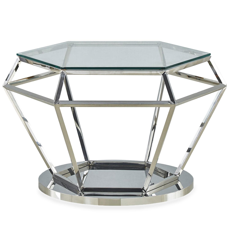 Aston salontafel in helder glas en zilveren voet