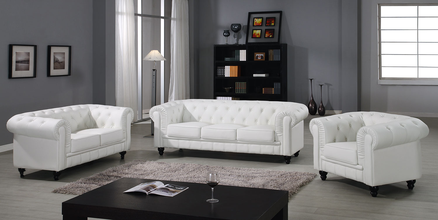Grote Chesterfield 3-zitsbank Wit