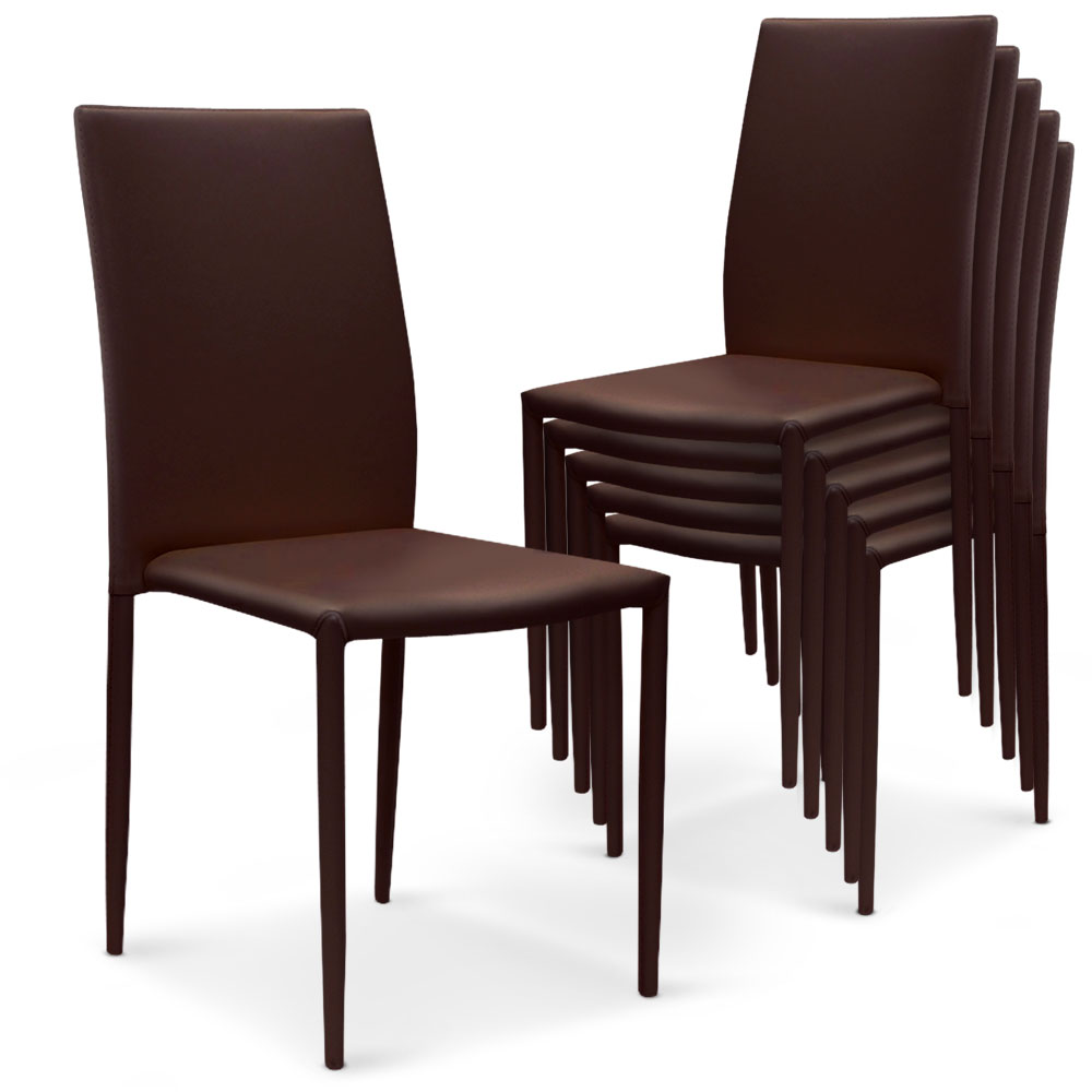 Lot de 6 chaises Modan simili-cuir Marron