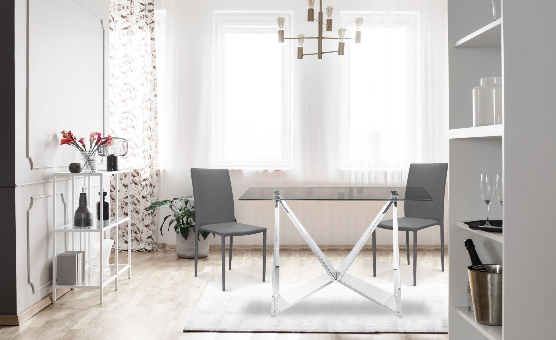 Set van 6 Modan PU grijze stapelbare stoelen