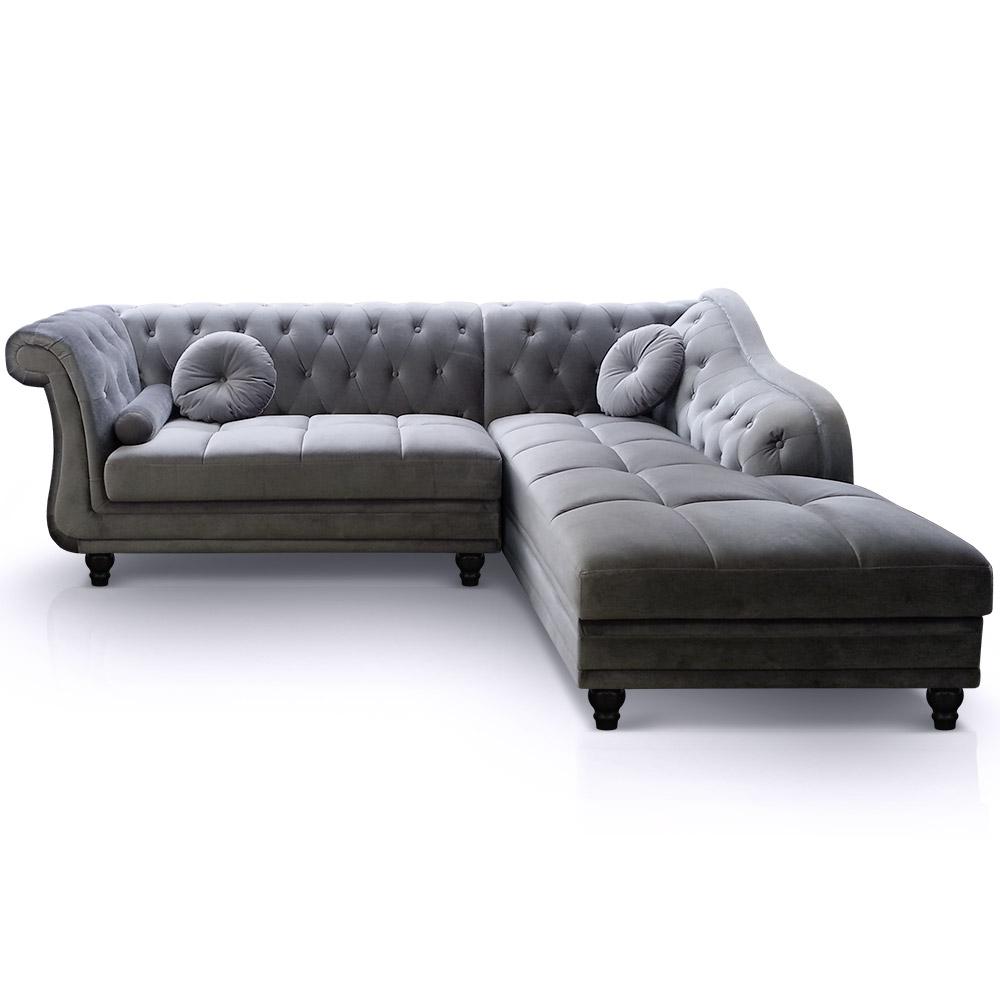 Canapé d'angle Brittish revêtement velours argent, canapé capitonné type chesterfield