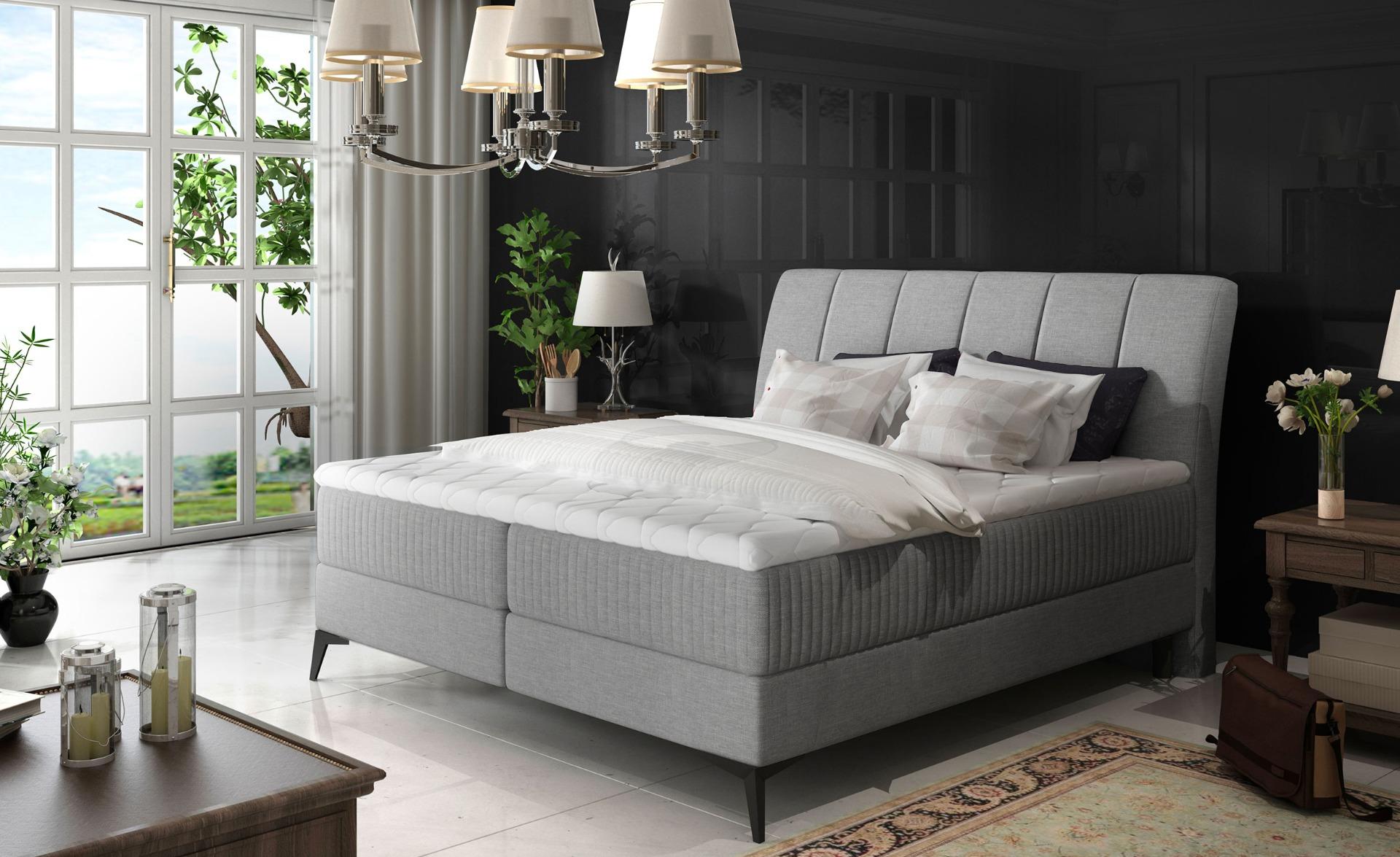 Aderito Bed met opbergruimte 160 cm van grijze stof