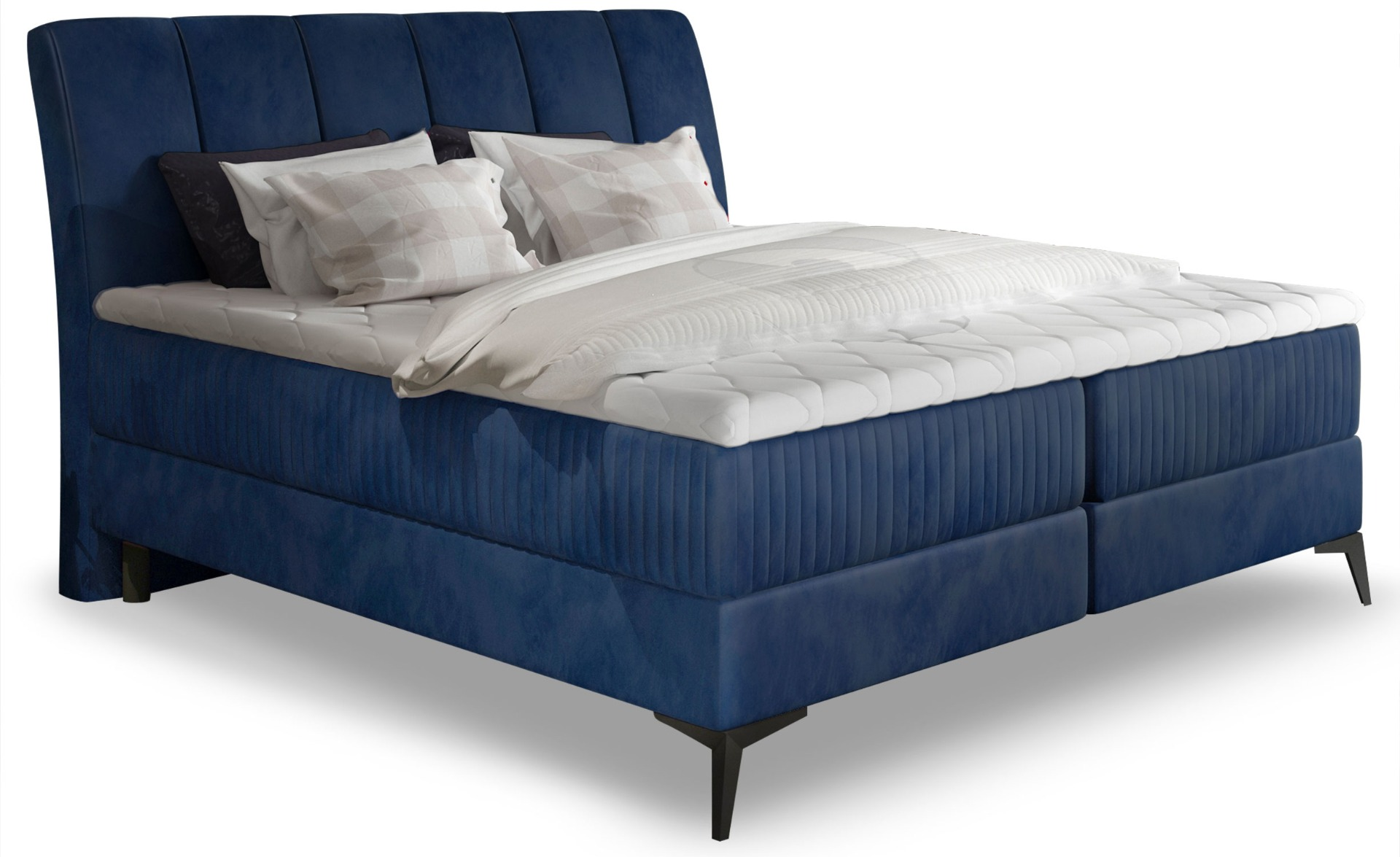 Lit Coffre Aderito 140cm Velours Bleu