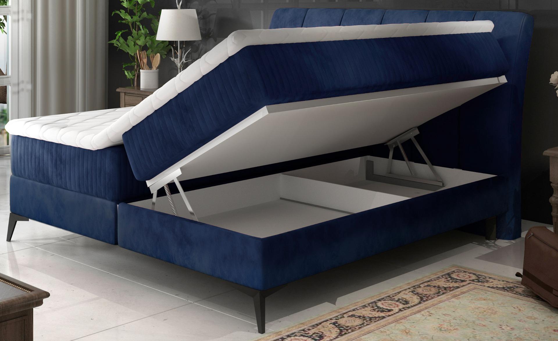 Aderito Bed met opbergruimte 160 cm blauw fluweel