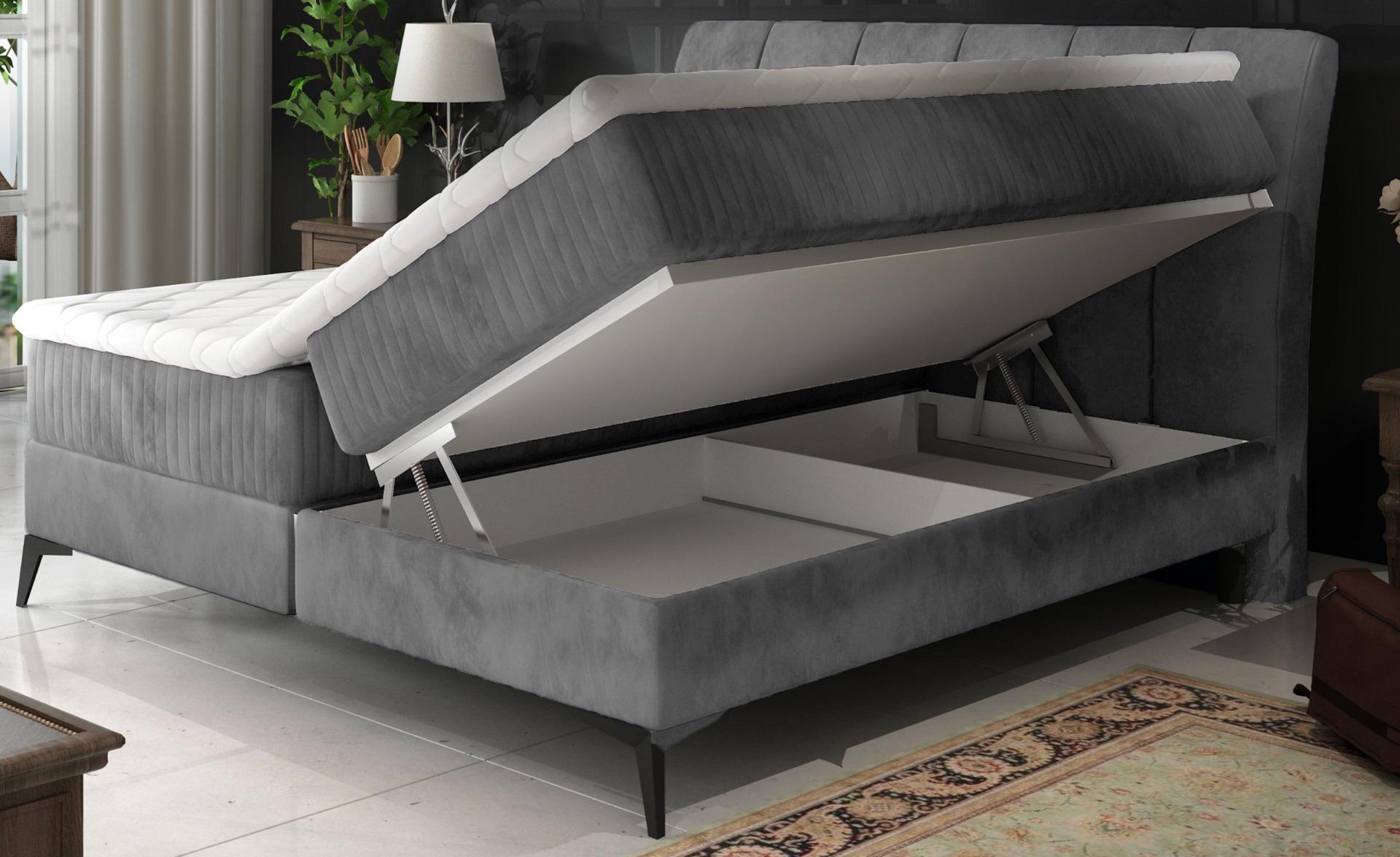 Aderito bed met opbergruimte 140 cm grijs fluweel