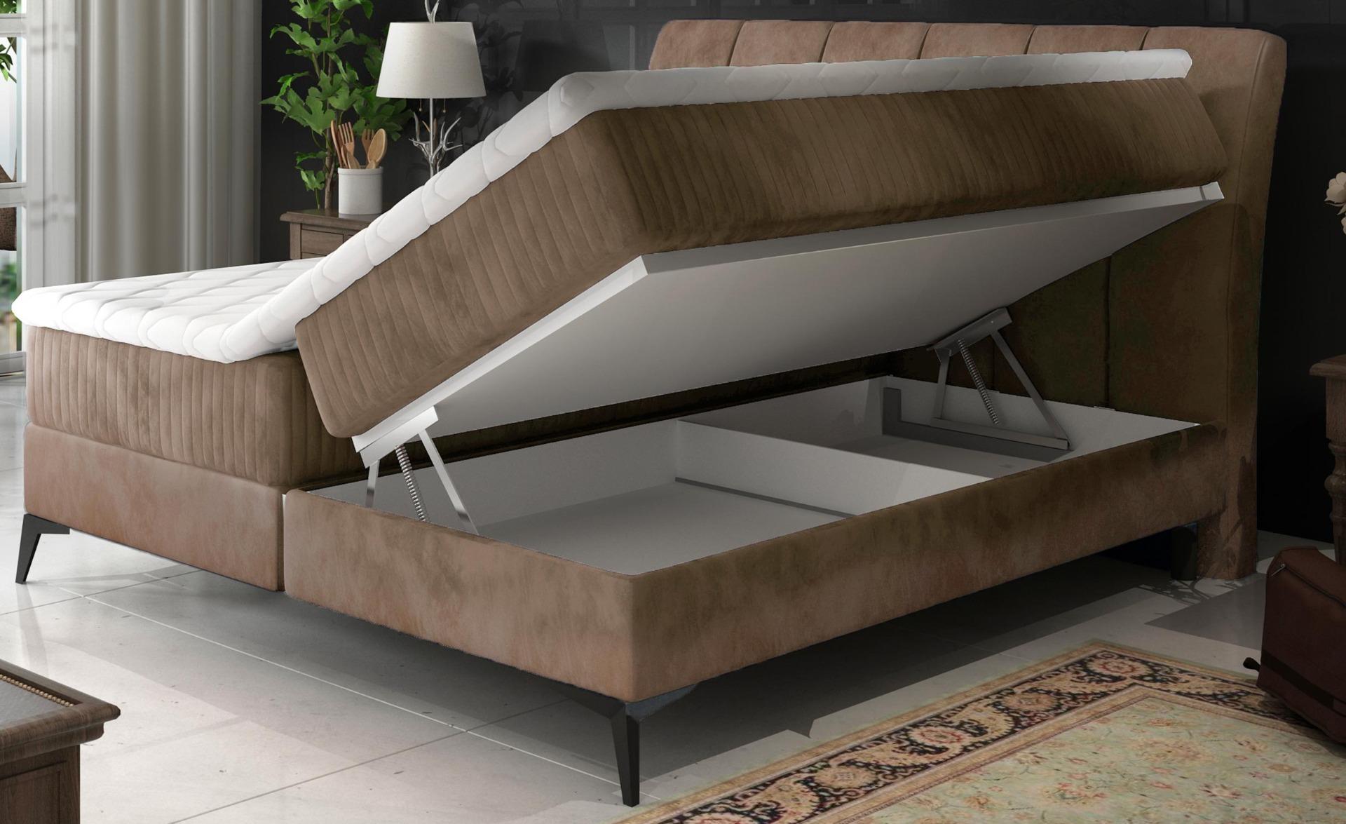 Aderito Bed met opbergruimte 140 cm Taupe Fluweel