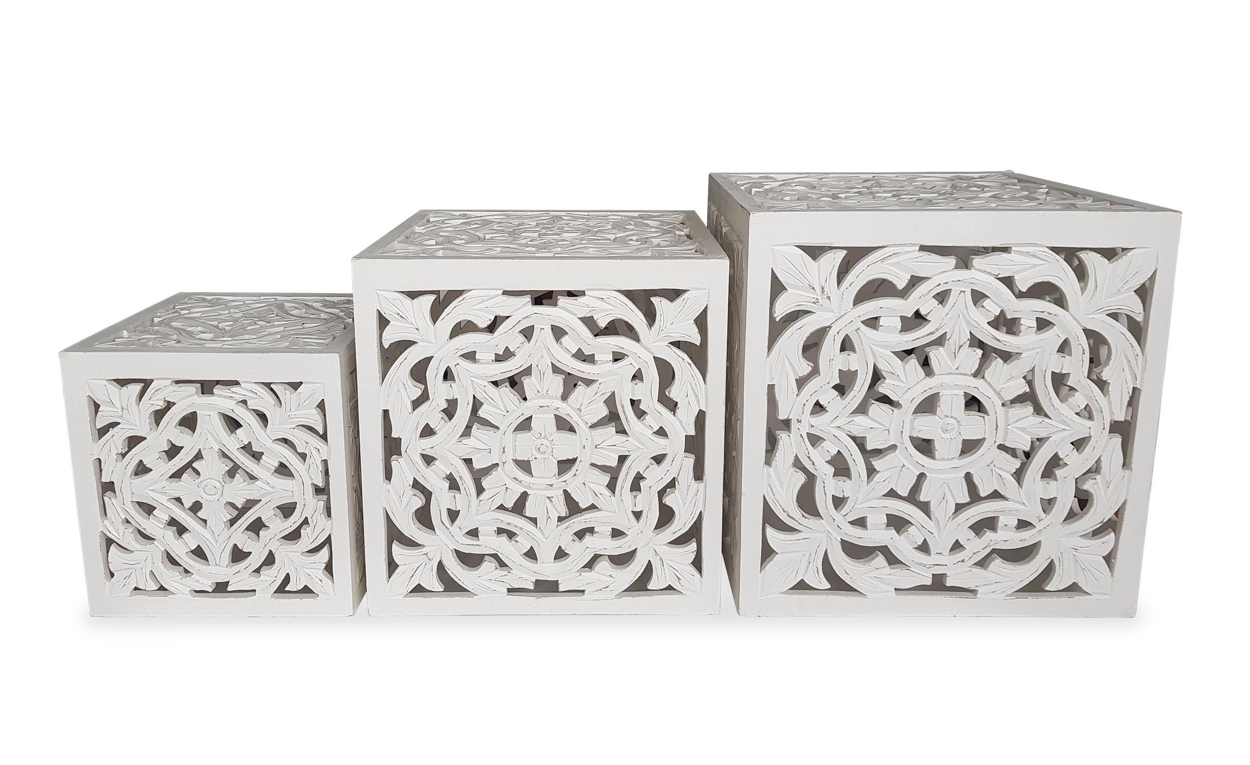 Set van 3 bijzettafels Agra White