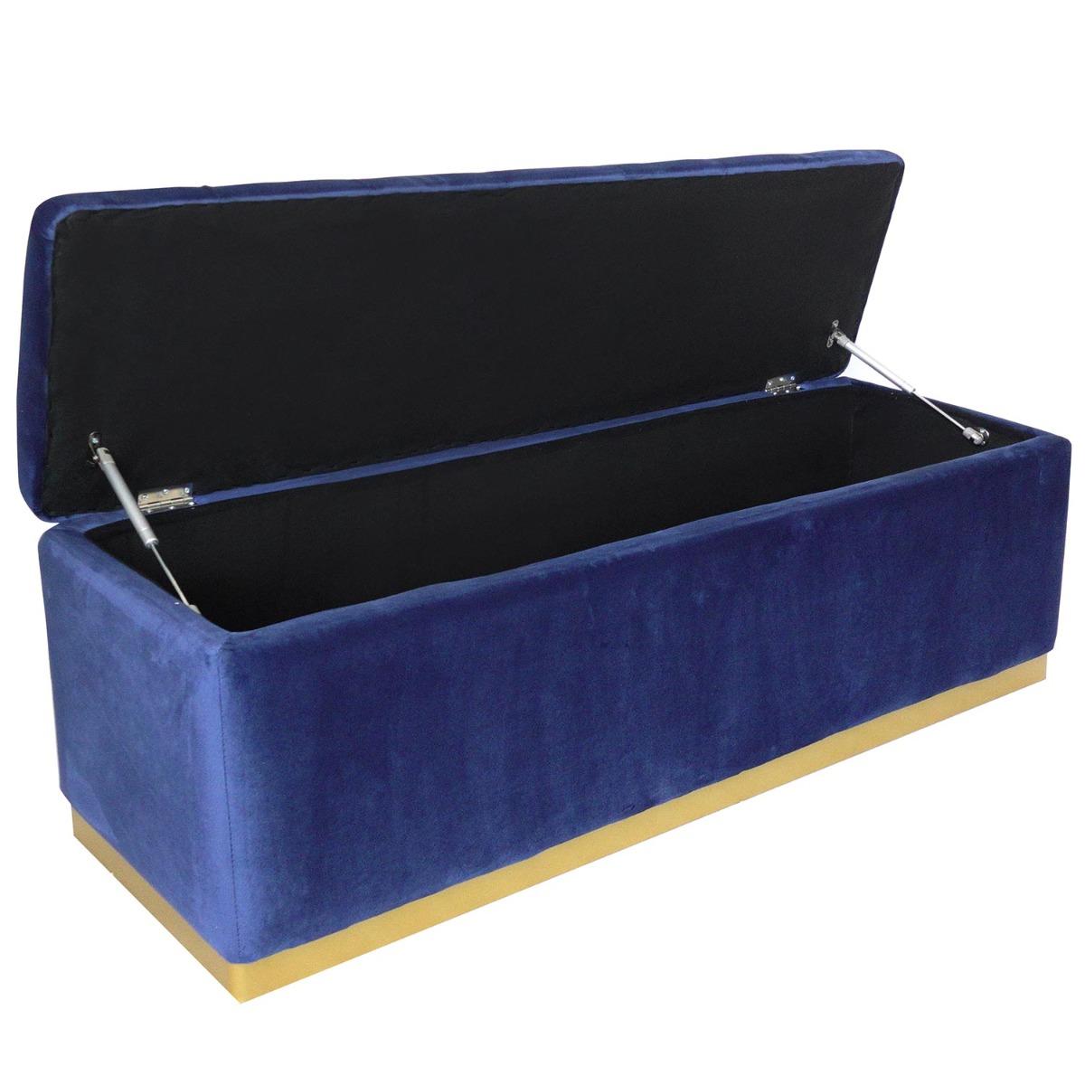 Borstbank Alexandrie Blue Velvet Gold Foot