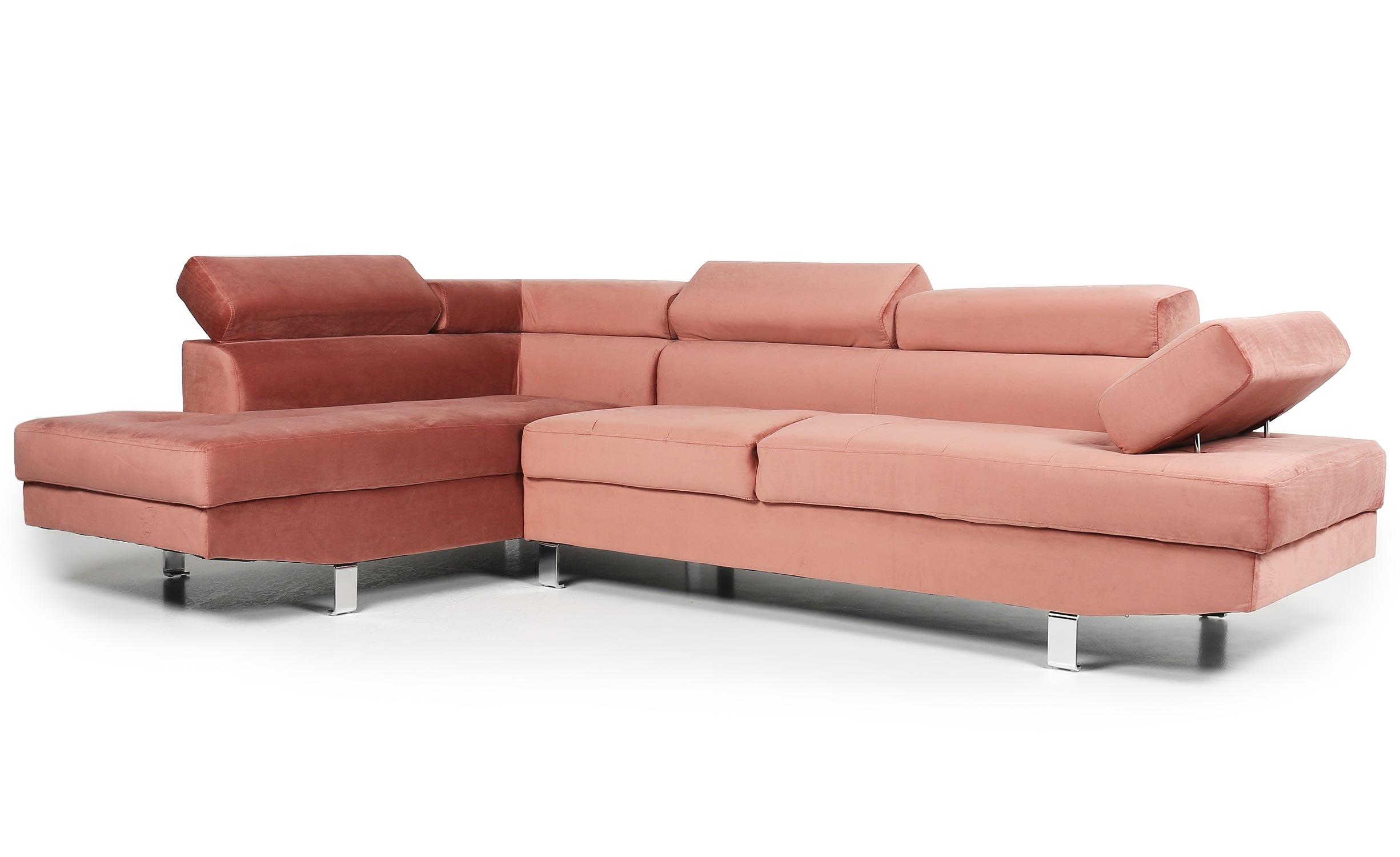 Canapé d'angle avec têtières relevables Alfa Velours Rose