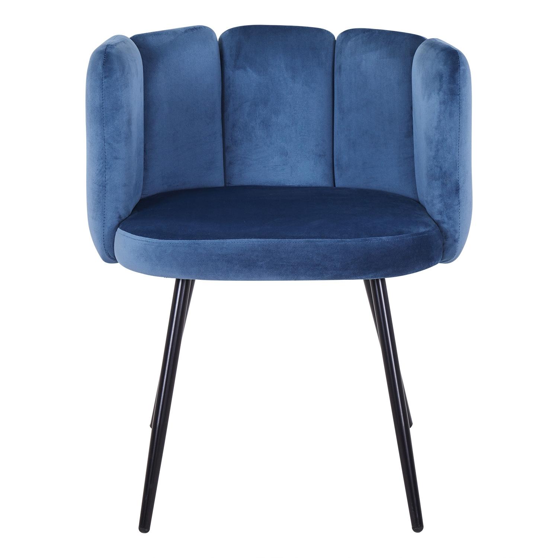 Set van 2 Amela blauwfluwelen stoelen
