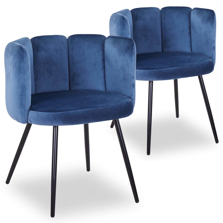 Lot de 2 chaises Amela Velours Bleu