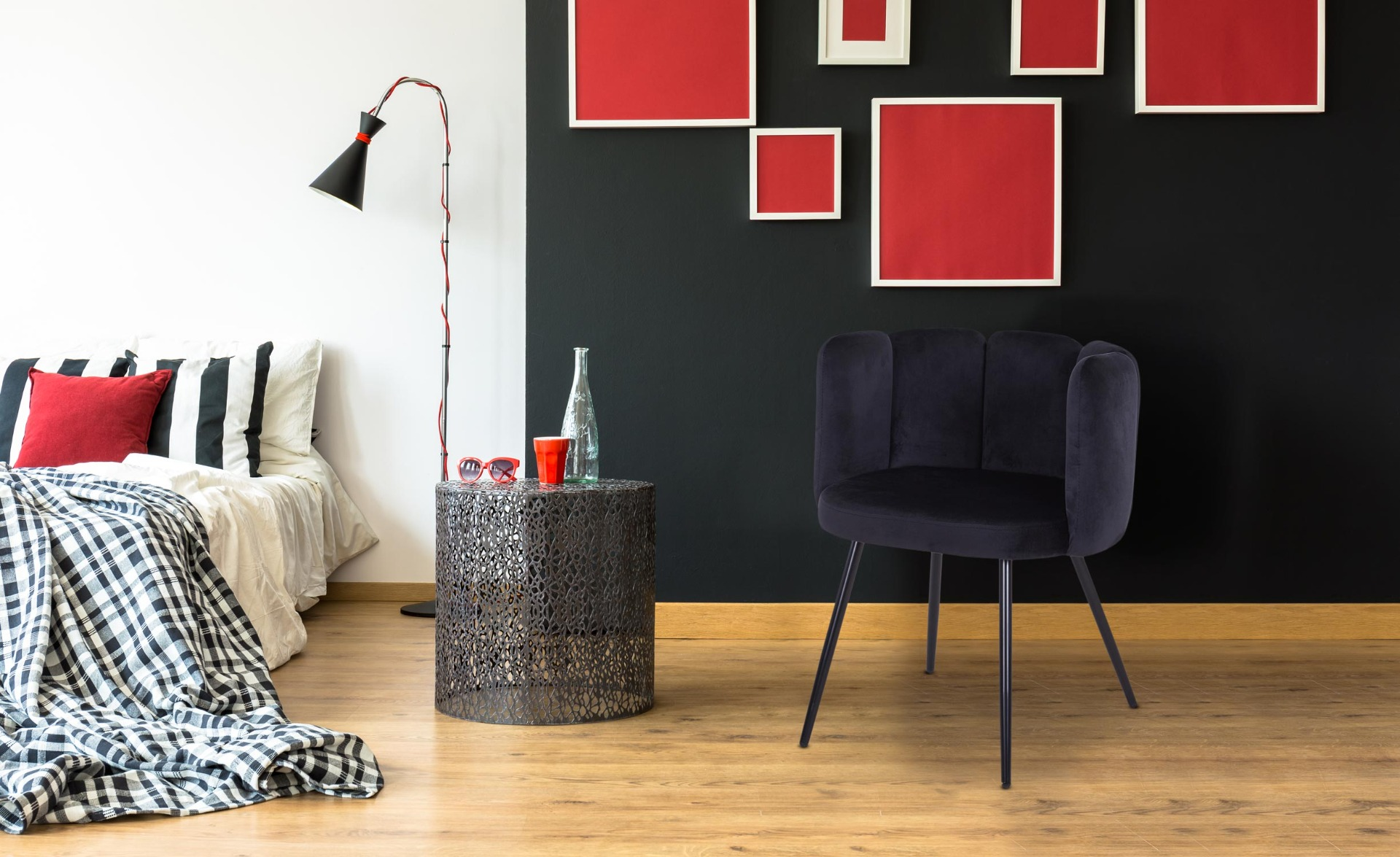 Set van 2 Amela zwart fluwelen stoelen
