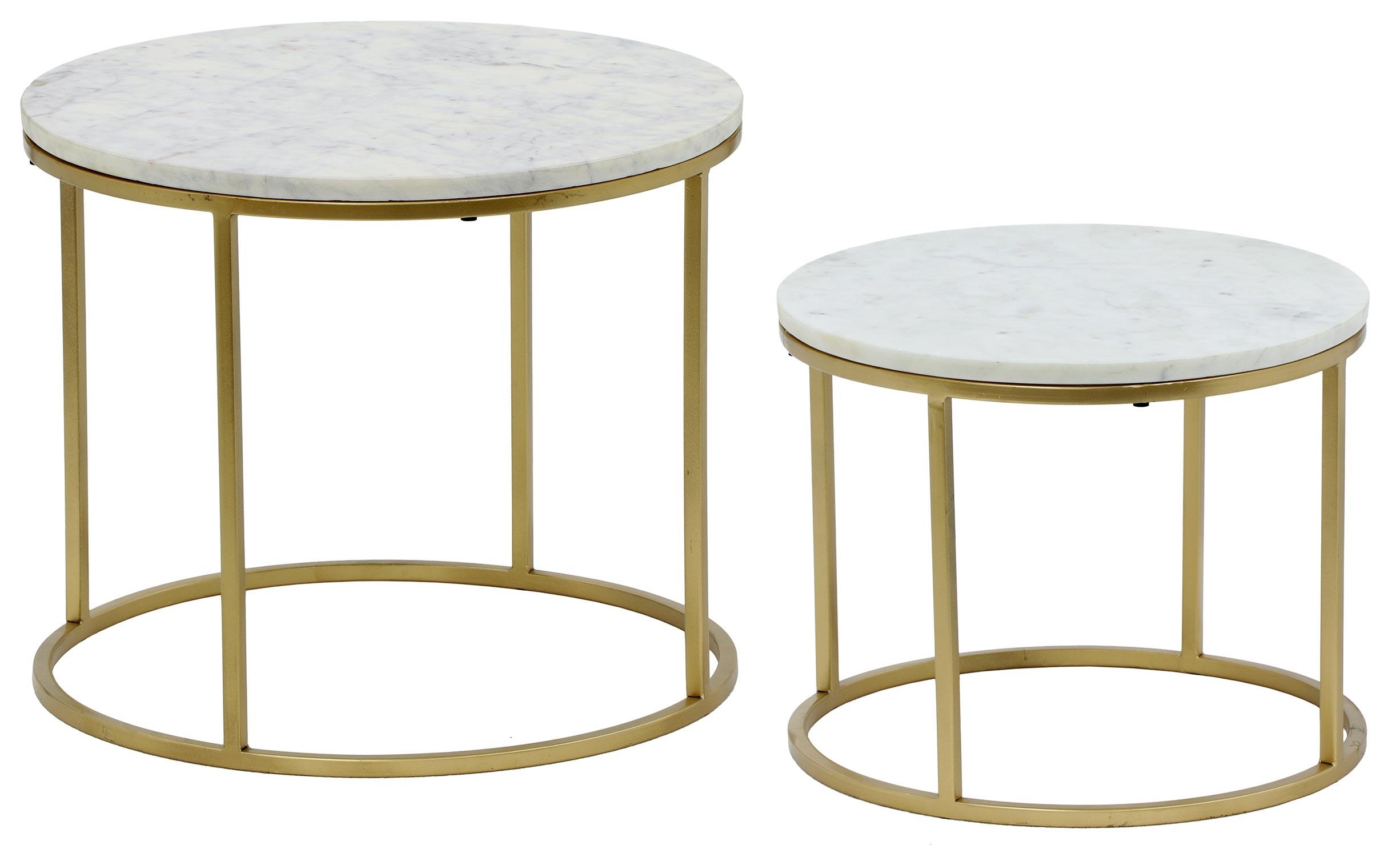 Ensemble de 2 tables basses Artik Marbre et Métal Or
