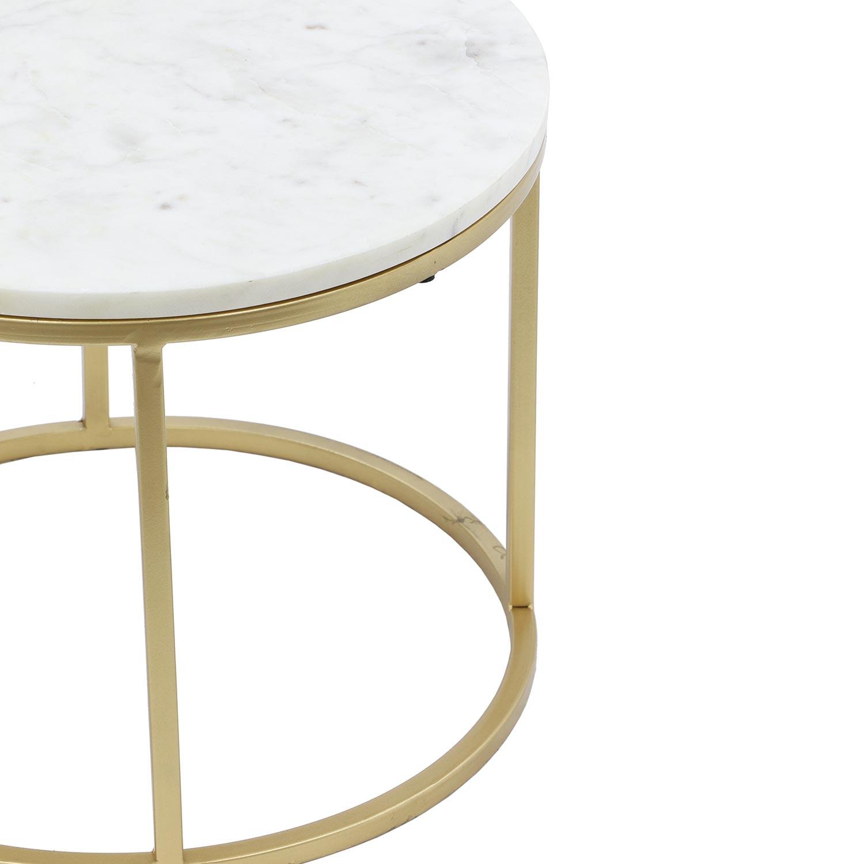 Set van 2 Artik salontafels van marmer en goudkleurig metaal