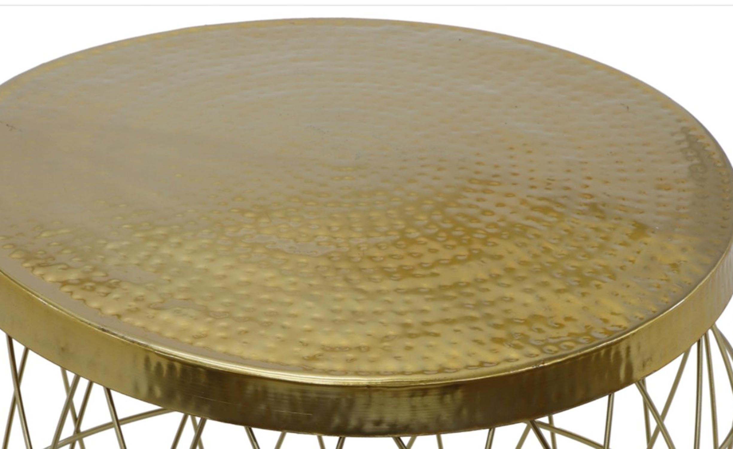 Artist Goud ronde salontafel van gehamerd metaal