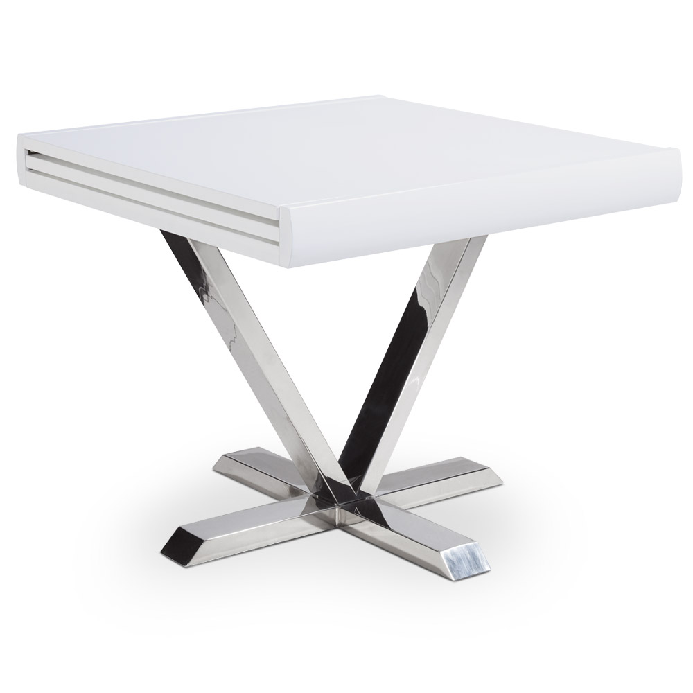 Table extensible à rallonge bois laqué blanc Vicky