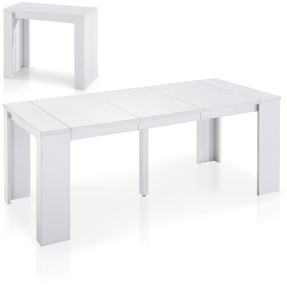 Table-console extensible contemporaine de 40 à 190cm de longueur Brookline coloris blanc
