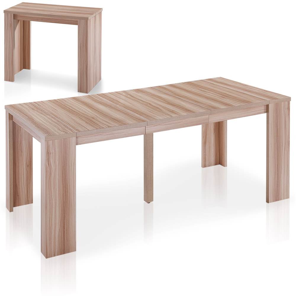 Table-console extensible contemporaine de 40 à 190cm de longueur Brookline coloris chêne clair