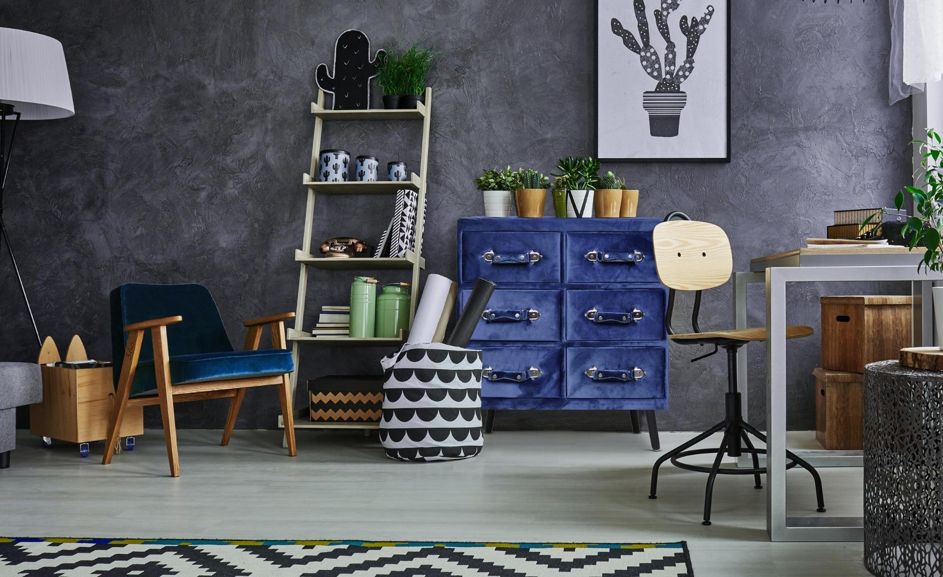 Bardo blauw fluwelen ladekast met 6 lades