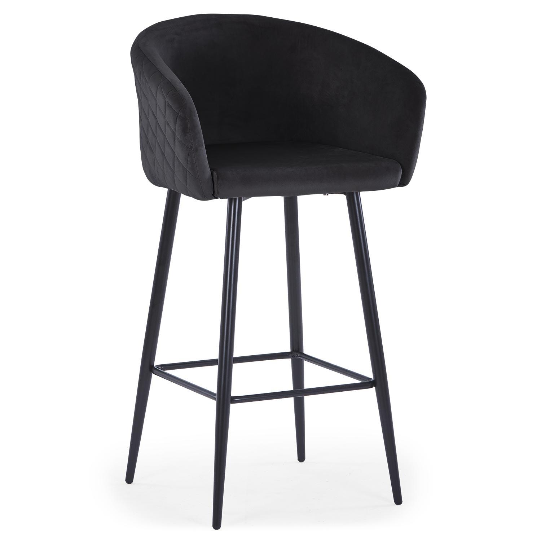 Chaise de bar Bobby Velours Noir