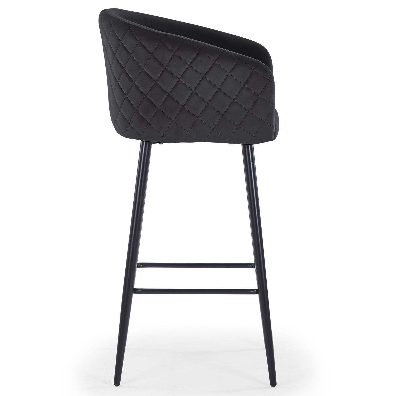 Bobby Velvet Bar stoel Zwart