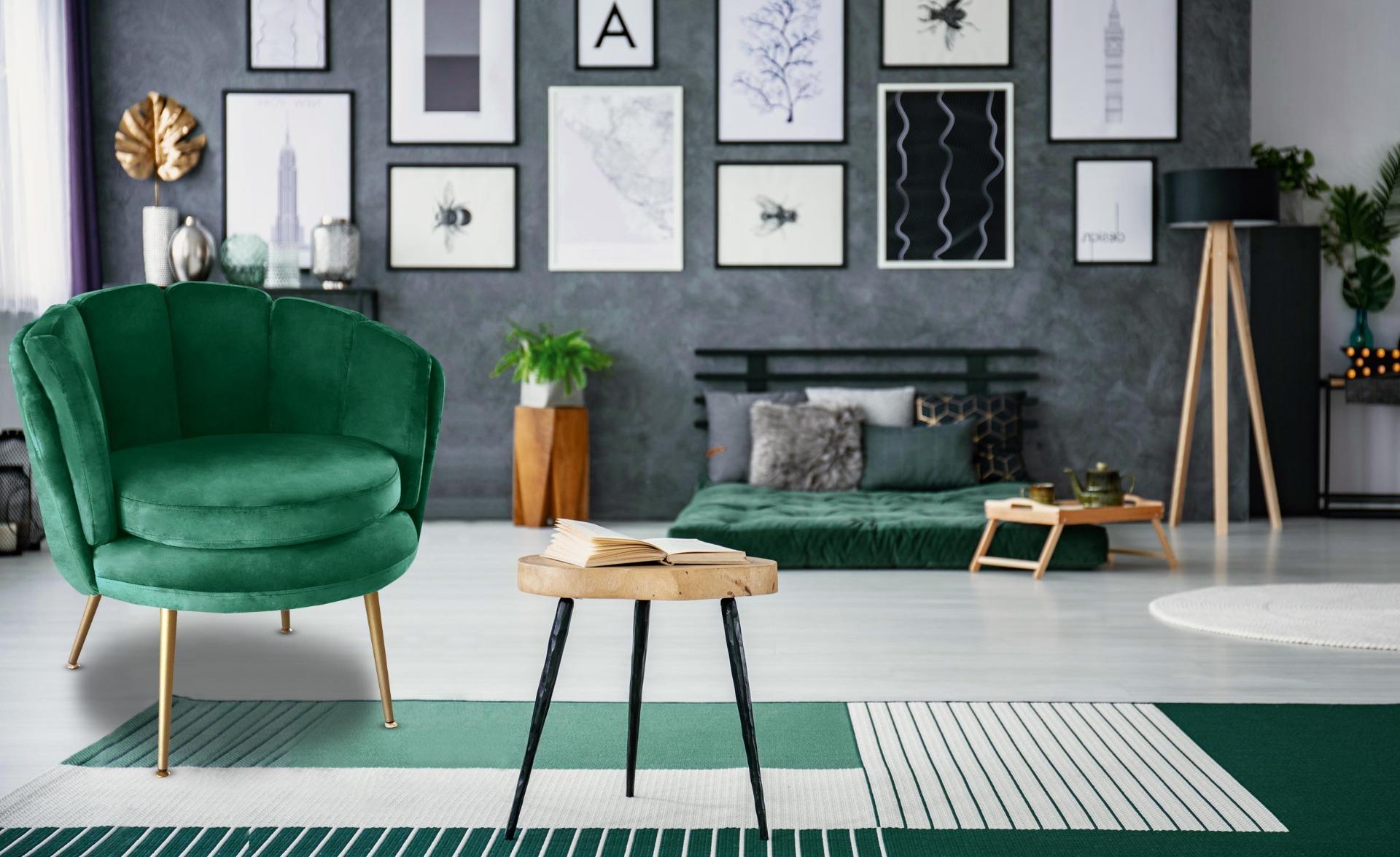 Brenda ronde fauteuil groen fluweel